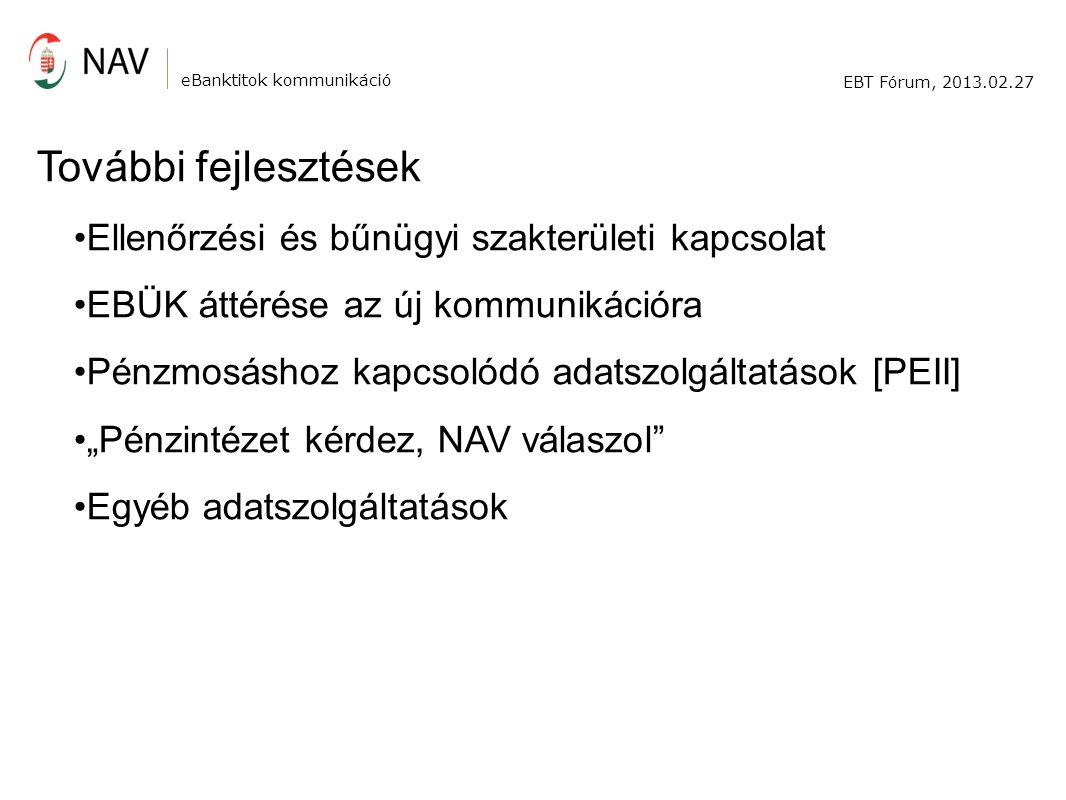 """eBanktitok kommunikáció EBT Fórum, 2013.02.27 További fejlesztések Ellenőrzési és bűnügyi szakterületi kapcsolat EBÜK áttérése az új kommunikációra Pénzmosáshoz kapcsolódó adatszolgáltatások [PEII] """"Pénzintézet kérdez, NAV válaszol Egyéb adatszolgáltatások"""