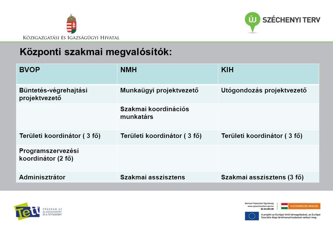 Központi szakmai megvalósítók: BVOPNMHKIH Büntetés-végrehajtási projektvezető Munkaügyi projektvezetőUtógondozás projektvezető Szakmai koordinációs mu