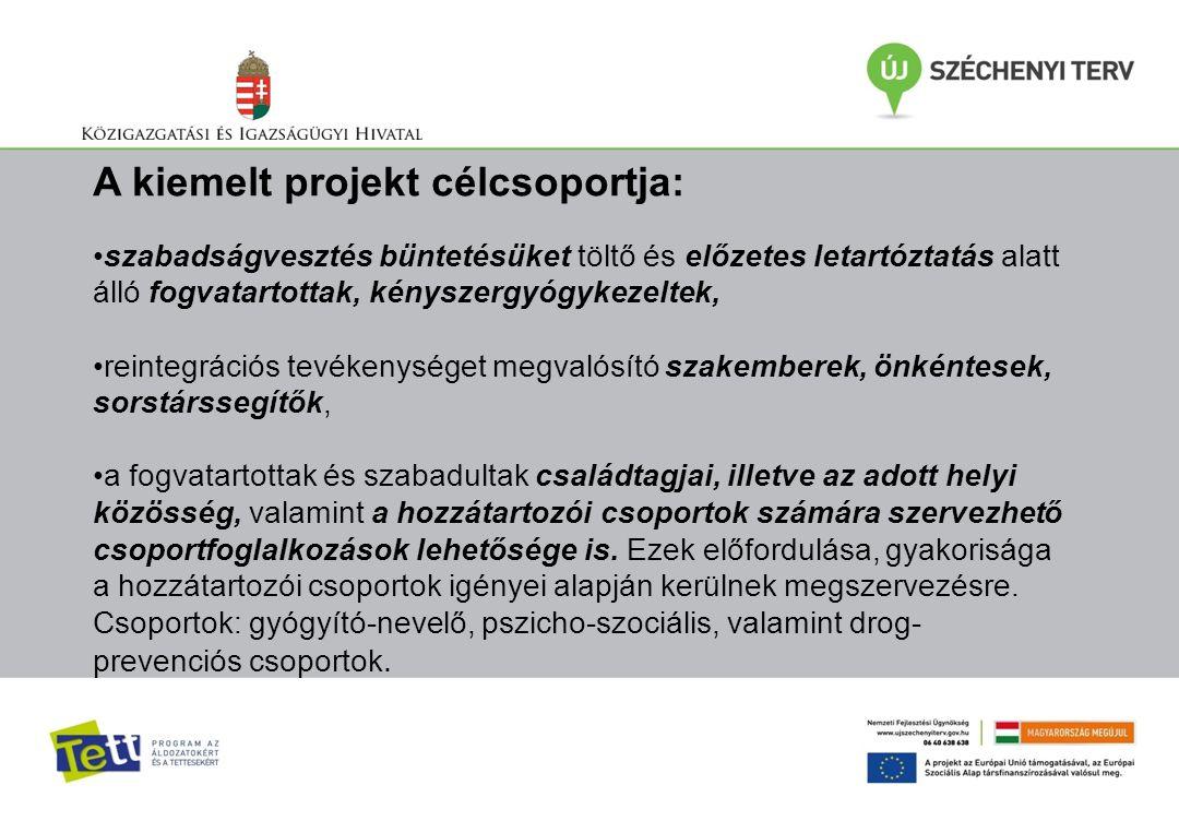 A kiemelt projekt célcsoportja: szabadságvesztés büntetésüket töltő és előzetes letartóztatás alatt álló fogvatartottak, kényszergyógykezeltek, reinte