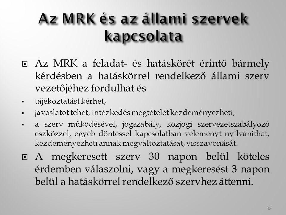  Az MRK a feladat- és hatáskörét érintő bármely kérdésben a hatáskörrel rendelkező állami szerv vezetőjéhez fordulhat és  tájékoztatást kérhet,  ja