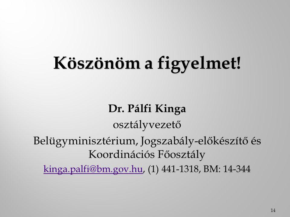 Köszönöm a figyelmet! Dr. Pálfi Kinga osztályvezető Belügyminisztérium, Jogszabály-előkészítő és Koordinációs Főosztály kinga.palfi@bm.gov.hukinga.pal