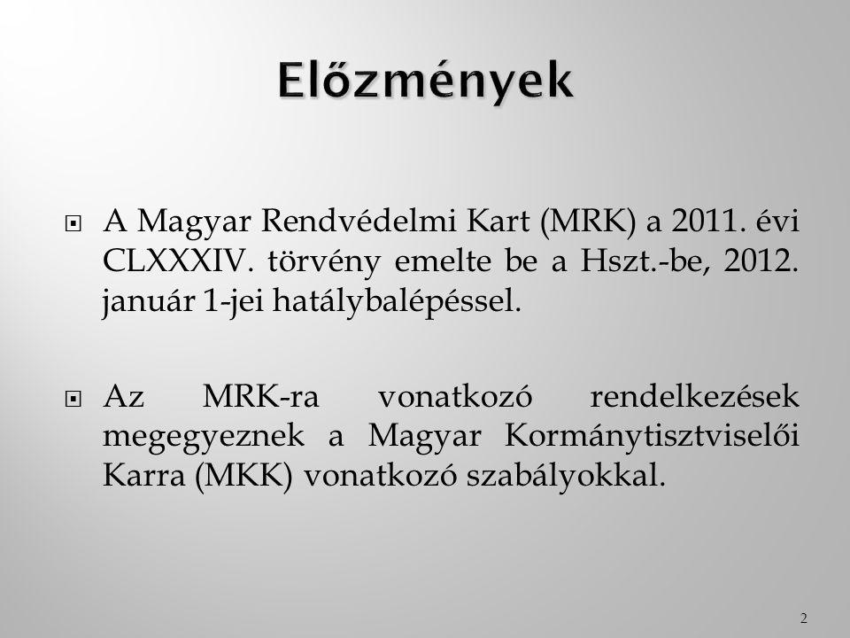  A Magyar Rendvédelmi Kart (MRK) a 2011. évi CLXXXIV. törvény emelte be a Hszt.-be, 2012. január 1-jei hatálybalépéssel.  Az MRK-ra vonatkozó rendel