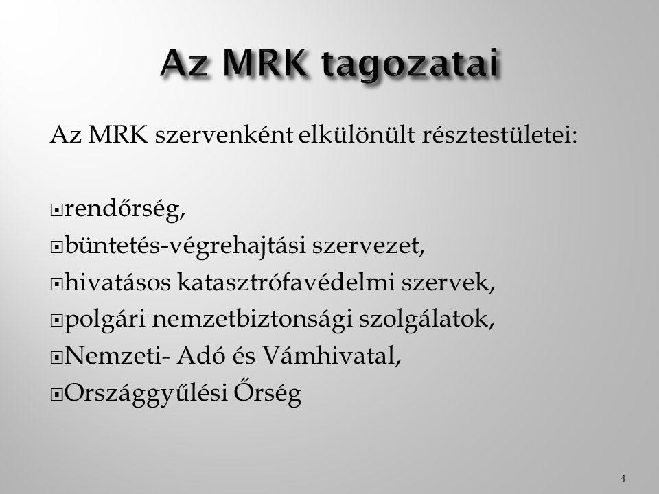 Az MRK szervenként elkülönült résztestületei:  rendőrség,  büntetés-végrehajtási szervezet,  hivatásos katasztrófavédelmi szervek,  polgári nemzet