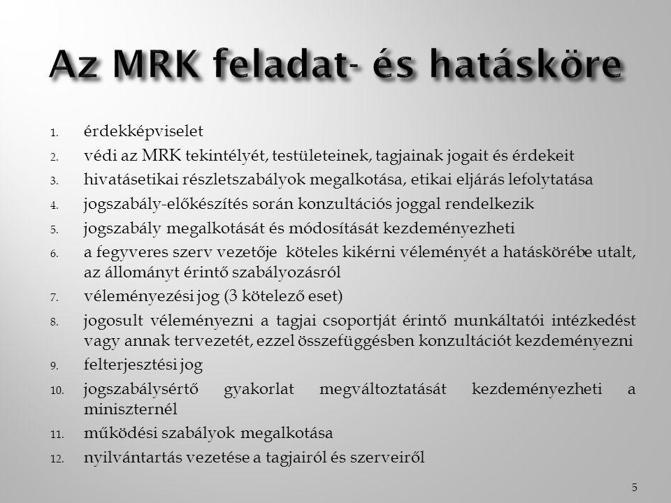 1. érdekképviselet 2. védi az MRK tekintélyét, testületeinek, tagjainak jogait és érdekeit 3. hivatásetikai részletszabályok megalkotása, etikai eljár
