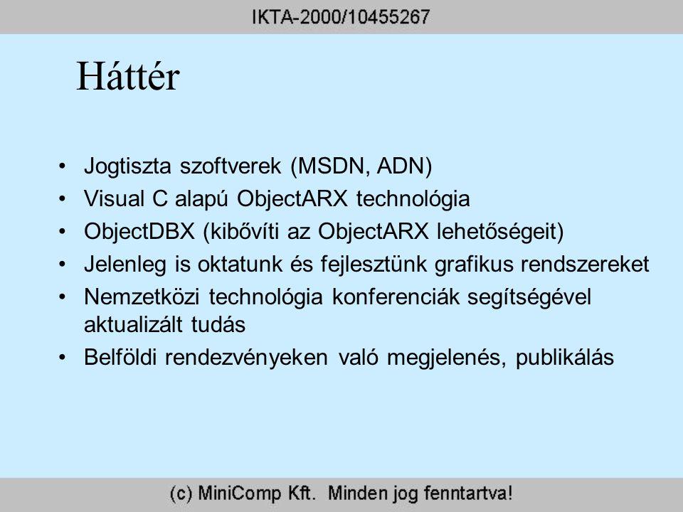 Háttér Jogtiszta szoftverek (MSDN, ADN) Visual C alapú ObjectARX technológia ObjectDBX (kibővíti az ObjectARX lehetőségeit) Jelenleg is oktatunk és fe