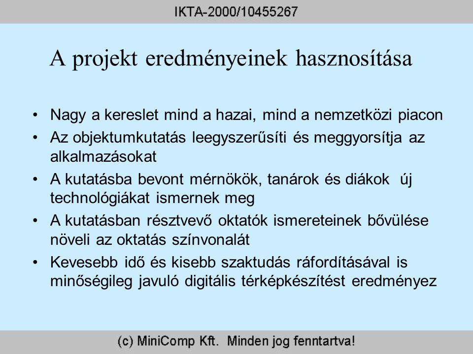 A projekt eredményeinek hasznosítása Nagy a kereslet mind a hazai, mind a nemzetközi piacon Az objektumkutatás leegyszerűsíti és meggyorsítja az alkal