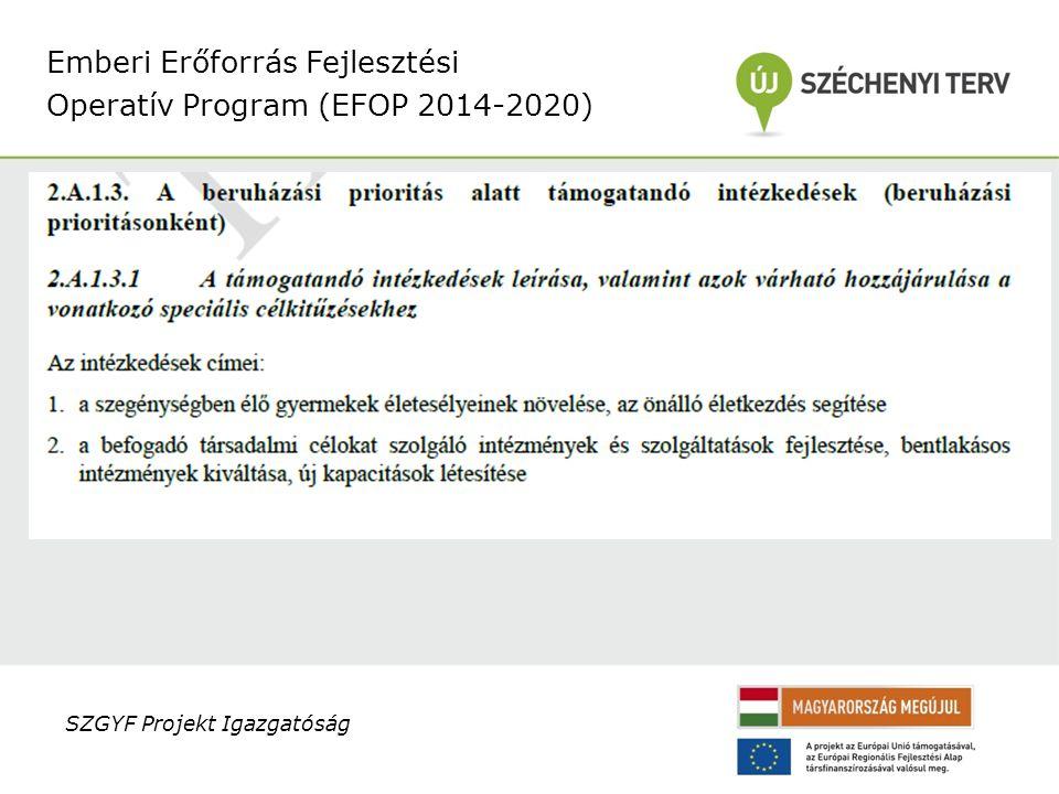 Emberi Erőforrás Fejlesztési Operatív Program (EFOP 2014-2020) SZGYF Projekt Igazgatóság