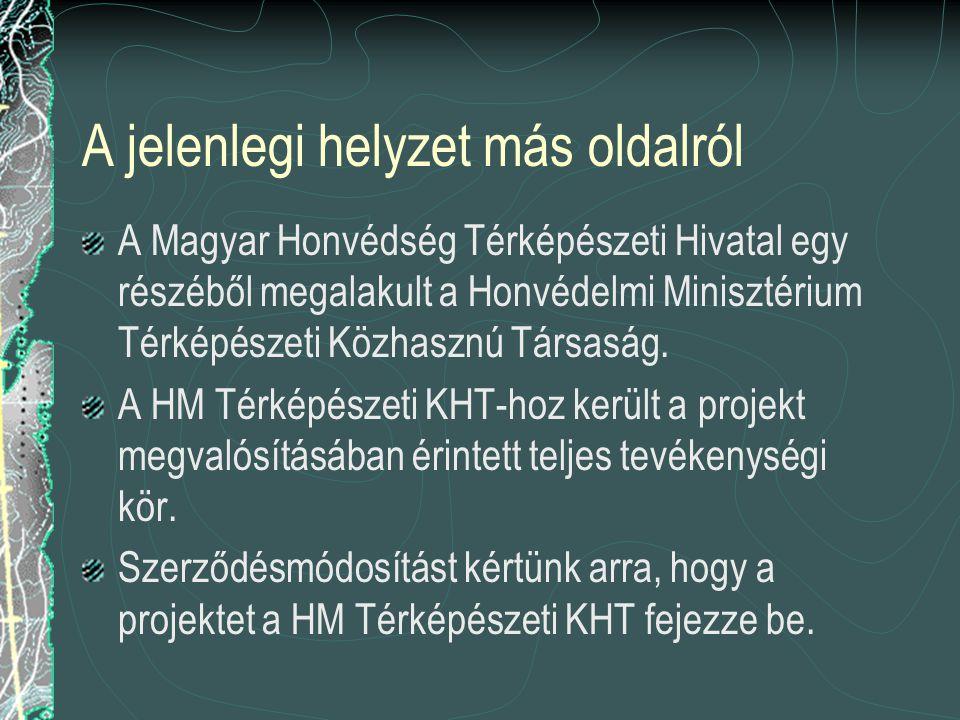 A jelenlegi helyzet más oldalról A Magyar Honvédség Térképészeti Hivatal egy részéből megalakult a Honvédelmi Minisztérium Térképészeti Közhasznú Társ