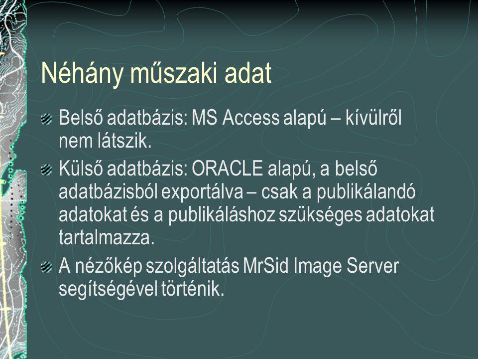 Néhány műszaki adat Belső adatbázis: MS Access alapú – kívülről nem látszik. Külső adatbázis: ORACLE alapú, a belső adatbázisból exportálva – csak a p