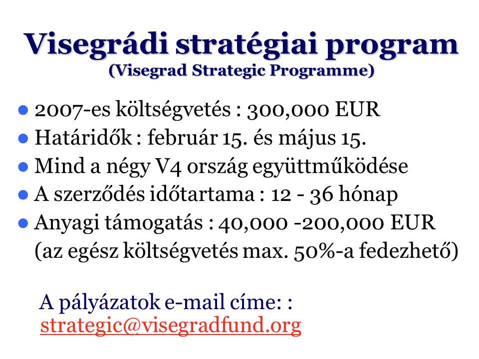 Visegrádi stratégiai program (Visegrad Strategic Programme) 2007-es költségvetés : 300,000 EUR Határidők : február 15. és május 15. Mind a négy V4 ors