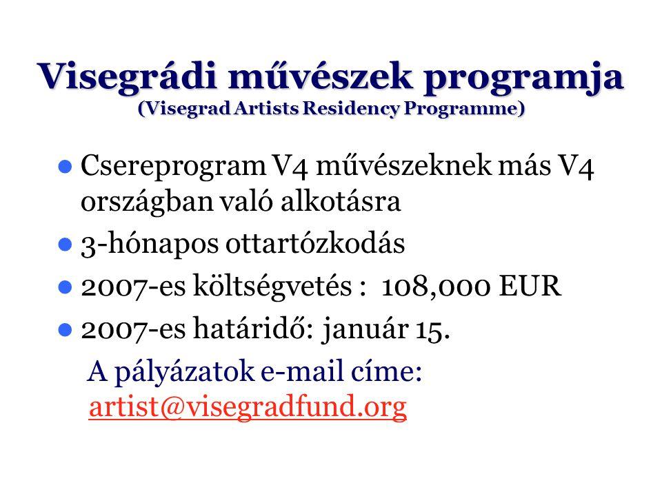 Csereprogram V4 művészeknek más V4 országban való alkotásra 3-hónapos ottartózkodás 2007-es költségvetés : 108,000 EUR 2007-es határidő: január 15. A