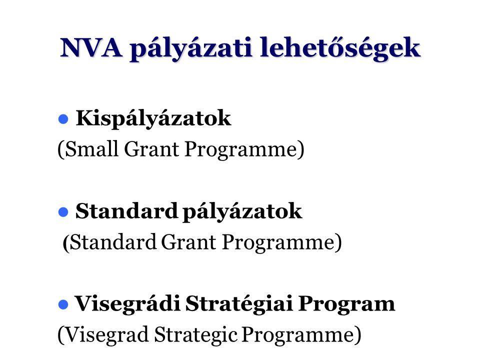 NVA pályázati lehetőségek Kispályázatok (Small Grant Programme) Standard pályázatok ( Standard Grant Programme) Visegrádi Stratégiai Program (Visegrad