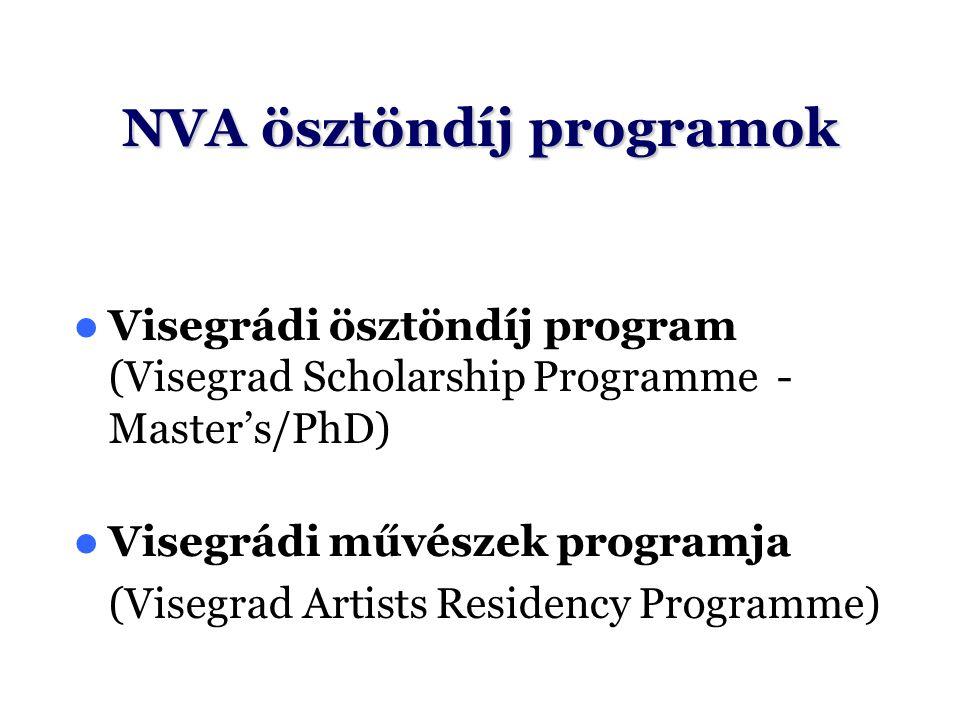 NVA ösztöndíj programok Visegrádi ösztöndíj program (Visegrad Scholarship Programme - Master's/PhD) Visegrádi művészek programja (Visegrad Artists Res