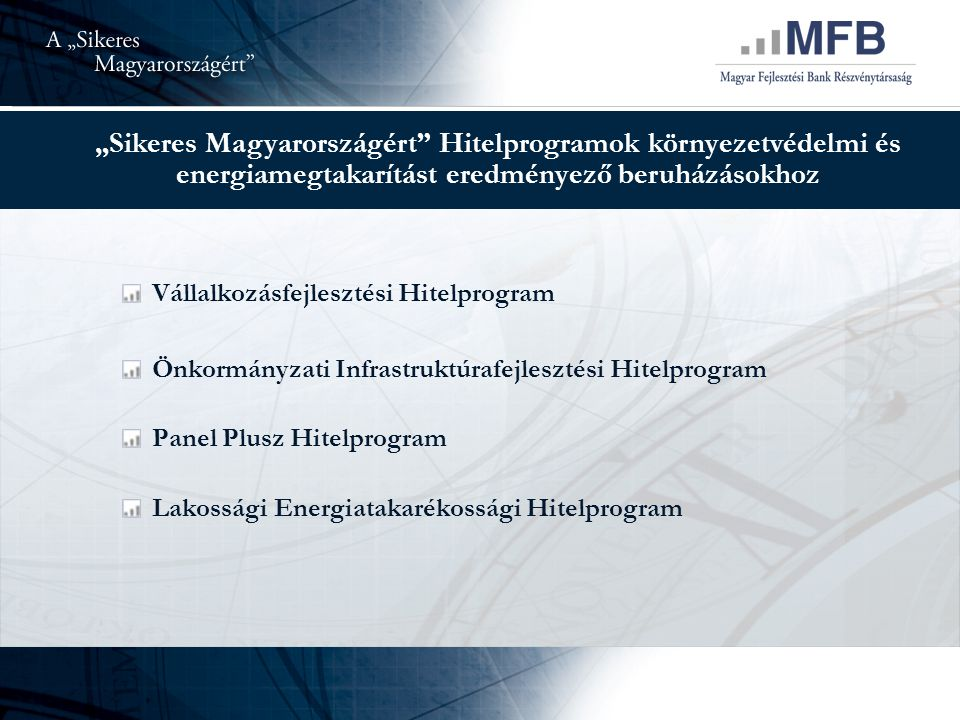 """""""Sikeres Magyarországért Hitelprogramok környezetvédelmi és energiamegtakarítást eredményező beruházásokhoz Vállalkozásfejlesztési Hitelprogram Önkormányzati Infrastruktúrafejlesztési Hitelprogram Panel Plusz Hitelprogram Lakossági Energiatakarékossági Hitelprogram"""