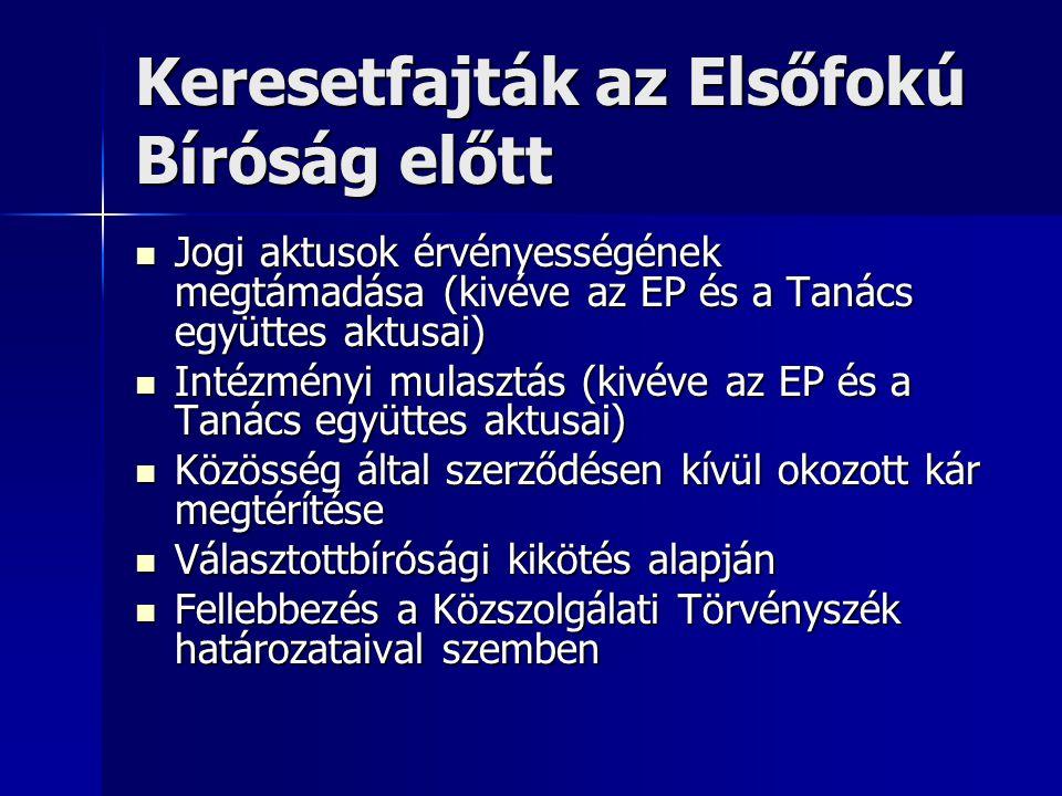 Keresetfajták az Elsőfokú Bíróság előtt Jogi aktusok érvényességének megtámadása (kivéve az EP és a Tanács együttes aktusai) Jogi aktusok érvényességének megtámadása (kivéve az EP és a Tanács együttes aktusai) Intézményi mulasztás (kivéve az EP és a Tanács együttes aktusai) Intézményi mulasztás (kivéve az EP és a Tanács együttes aktusai) Közösség által szerződésen kívül okozott kár megtérítése Közösség által szerződésen kívül okozott kár megtérítése Választottbírósági kikötés alapján Választottbírósági kikötés alapján Fellebbezés a Közszolgálati Törvényszék határozataival szemben Fellebbezés a Közszolgálati Törvényszék határozataival szemben