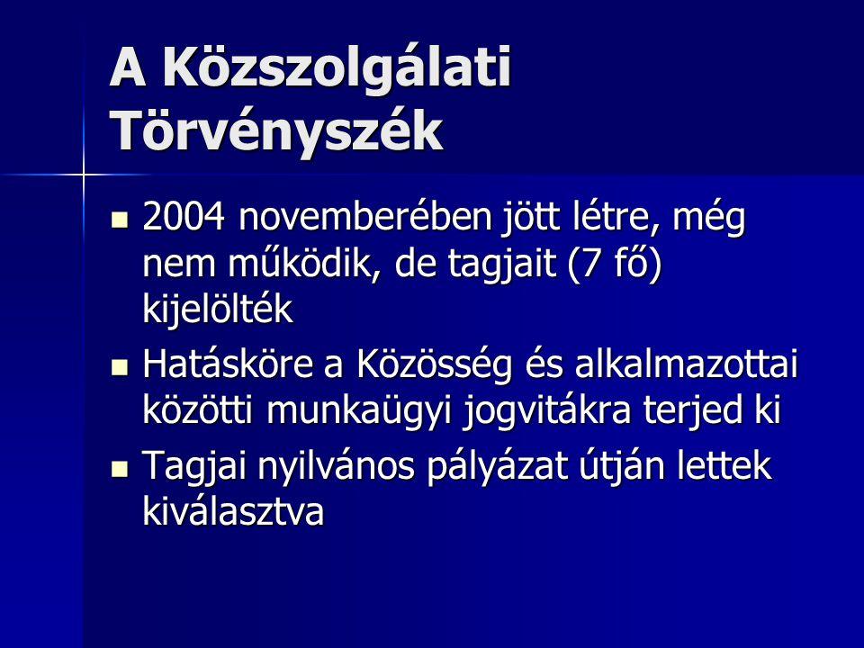 A Közszolgálati Törvényszék 2004 novemberében jött létre, még nem működik, de tagjait (7 fő) kijelölték 2004 novemberében jött létre, még nem működik, de tagjait (7 fő) kijelölték Hatásköre a Közösség és alkalmazottai közötti munkaügyi jogvitákra terjed ki Hatásköre a Közösség és alkalmazottai közötti munkaügyi jogvitákra terjed ki Tagjai nyilvános pályázat útján lettek kiválasztva Tagjai nyilvános pályázat útján lettek kiválasztva