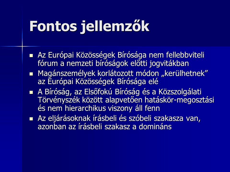 """Fontos jellemzők Az Európai Közösségek Bírósága nem fellebbviteli fórum a nemzeti bíróságok előtti jogvitákban Az Európai Közösségek Bírósága nem fellebbviteli fórum a nemzeti bíróságok előtti jogvitákban Magánszemélyek korlátozott módon """"kerülhetnek az Európai Közösségek Bírósága elé Magánszemélyek korlátozott módon """"kerülhetnek az Európai Közösségek Bírósága elé A Bíróság, az Elsőfokú Bíróság és a Közszolgálati Törvényszék között alapvetően hatáskör-megosztási és nem hierarchikus viszony áll fenn A Bíróság, az Elsőfokú Bíróság és a Közszolgálati Törvényszék között alapvetően hatáskör-megosztási és nem hierarchikus viszony áll fenn Az eljárásoknak írásbeli és szóbeli szakasza van, azonban az írásbeli szakasz a domináns Az eljárásoknak írásbeli és szóbeli szakasza van, azonban az írásbeli szakasz a domináns"""