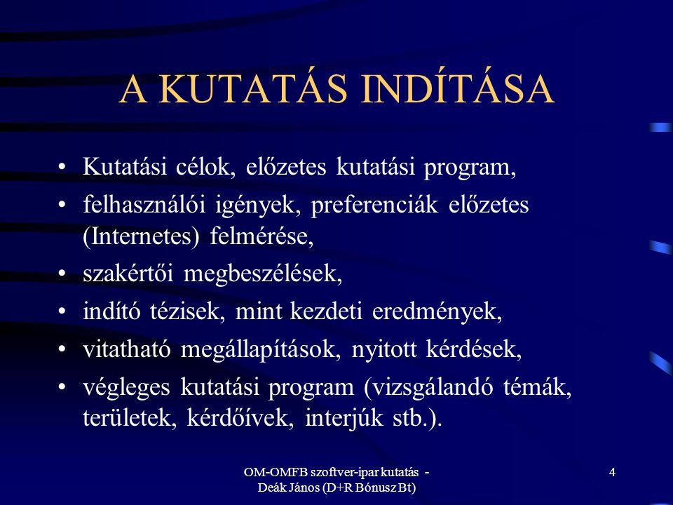 OM-OMFB szoftver-ipar kutatás - Deák János (D+R Bónusz Bt) 15 VERSENYKÉPESNEK MARADNI Alapvető kérdés, hogy milyen területen tud versenyképes maradni a magyar szoftver-ipar a szoftver-termékek fejlesztésével, gyártásával, (a szűkebb értelemben vett szoftver-iparban), és/vagy a szoftveres szolgáltatások, a felhasználói támogatások területén, és/vagy a szoftverfejlesztő tudás értékesítése révén (a multinacionális cégek ezt keresik !).