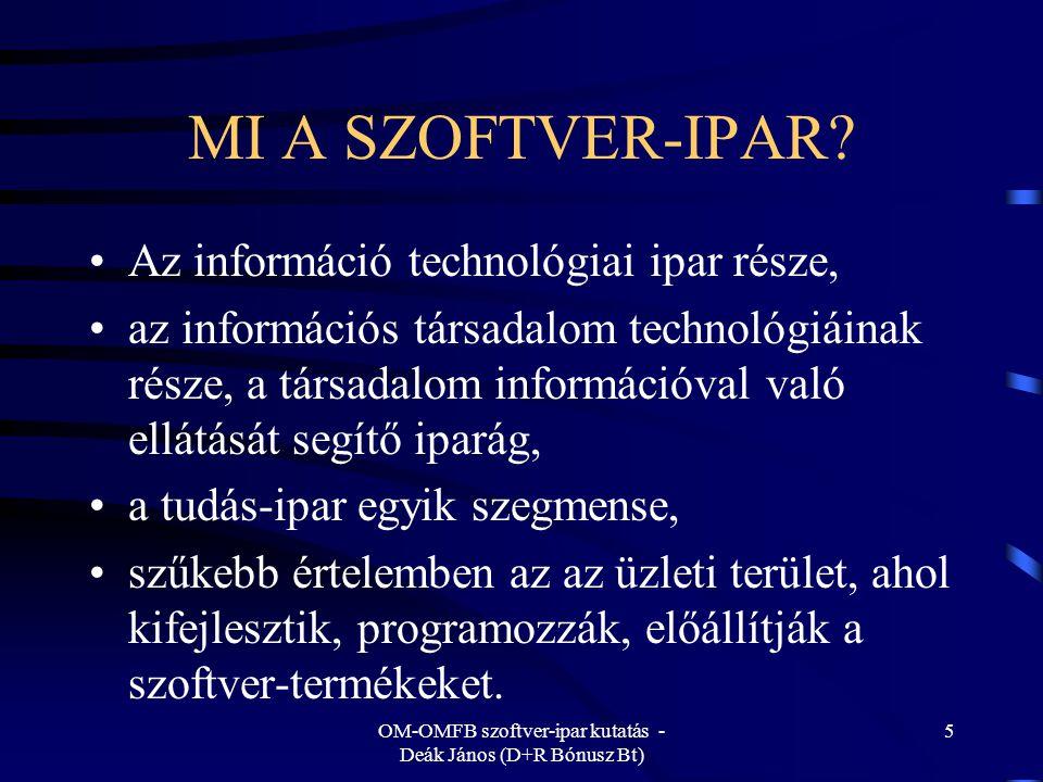 OM-OMFB szoftver-ipar kutatás - Deák János (D+R Bónusz Bt) 6 A SZOFTVER-IPAR TÁGABB ÉRTELEMBEN Tartalmazza mindazon elemeket is, amelyek szükségesek a szoftverek hatékony alkalmazásához szolgáltatások (adaptálás, lokalizálás, konfigurálás, paraméterezés, integrálás stb.), felhasználói támogatás, disztribúció, tanácsadás (érdemi szolgáltatásokkal).