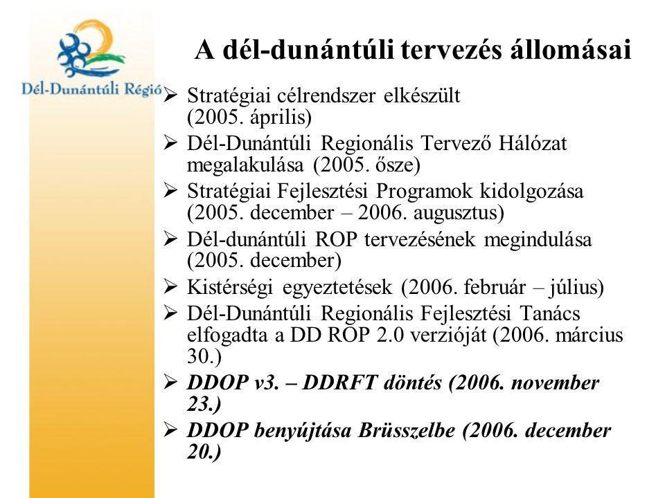 A dél-dunántúli tervezés állomásai  Stratégiai célrendszer elkészült (2005.