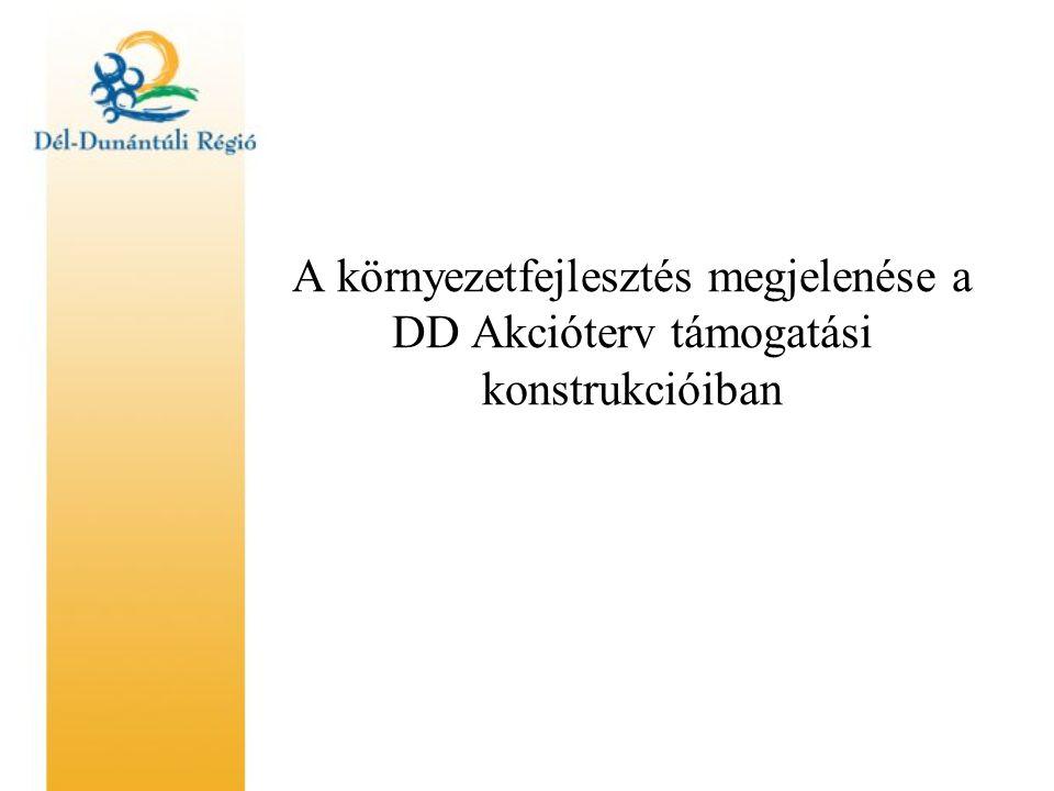 A környezetfejlesztés megjelenése a DD Akcióterv támogatási konstrukcióiban
