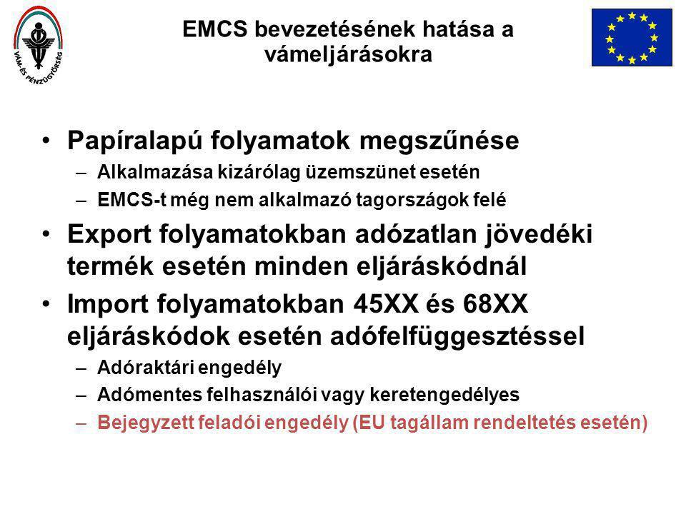 Papíralapú folyamatok megszűnése –Alkalmazása kizárólag üzemszünet esetén –EMCS-t még nem alkalmazó tagországok felé Export folyamatokban adózatlan jövedéki termék esetén minden eljáráskódnál Import folyamatokban 45XX és 68XX eljáráskódok esetén adófelfüggesztéssel –Adóraktári engedély –Adómentes felhasználói vagy keretengedélyes –Bejegyzett feladói engedély (EU tagállam rendeltetés esetén) EMCS bevezetésének hatása a vámeljárásokra