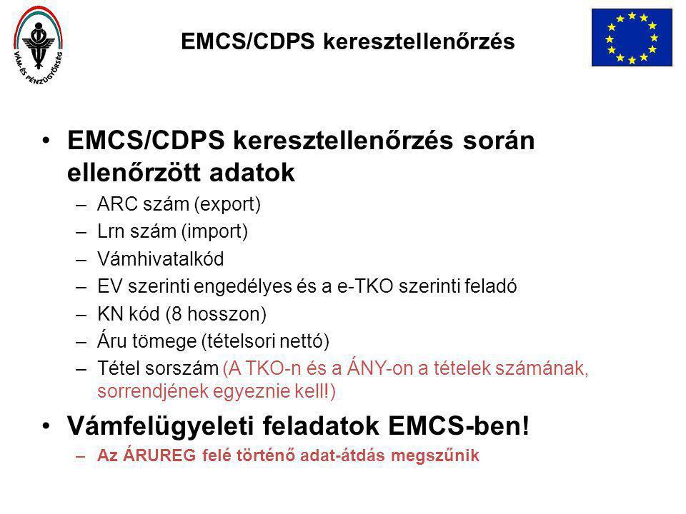 EMCS/CDPS keresztellenőrzés során ellenőrzött adatok –ARC szám (export) –Lrn szám (import) –Vámhivatalkód –EV szerinti engedélyes és a e-TKO szerinti feladó –KN kód (8 hosszon) –Áru tömege (tételsori nettó) –Tétel sorszám (A TKO-n és a ÁNY-on a tételek számának, sorrendjének egyeznie kell!) Vámfelügyeleti feladatok EMCS-ben.