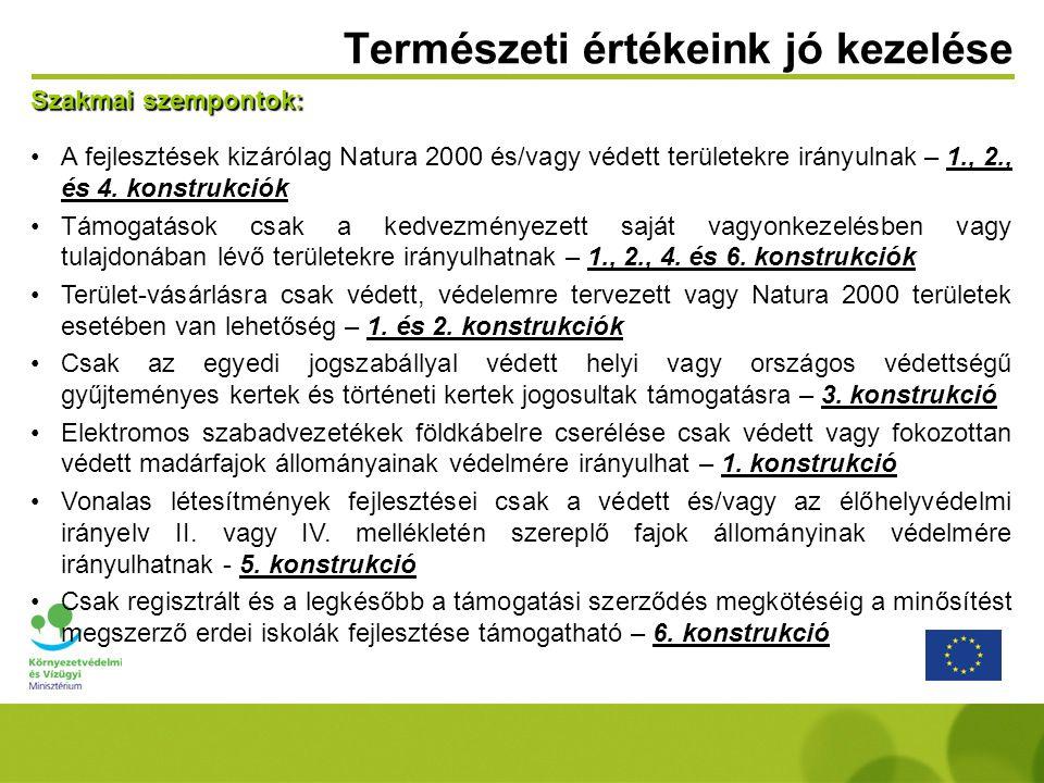 Szakmai szempontok: A fejlesztések kizárólag Natura 2000 és/vagy védett területekre irányulnak – 1., 2., és 4. konstrukciók Támogatások csak a kedvezm