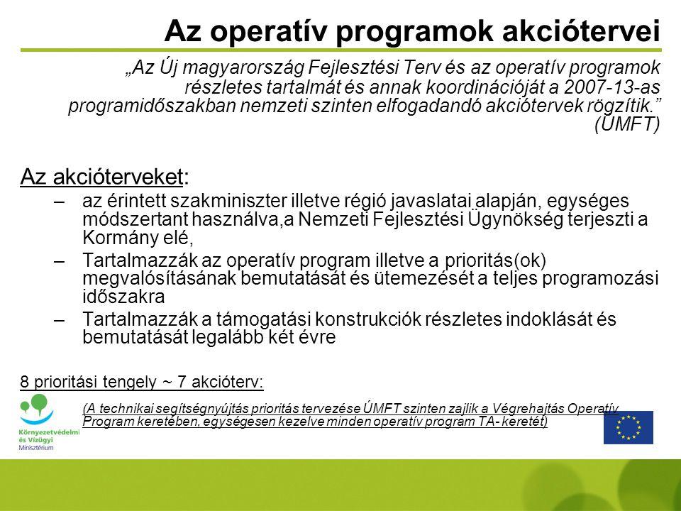 """Az operatív programok akciótervei """"Az Új magyarország Fejlesztési Terv és az operatív programok részletes tartalmát és annak koordinációját a 2007-13-"""