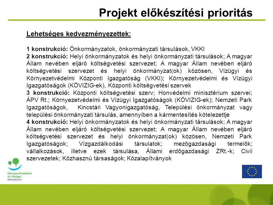 Projekt előkészítési prioritás Lehetséges kedvezményezettek: 1 konstrukció: Önkormányzatok, önkormányzati társulások, VKKI 2 konstrukció: Helyi önkorm