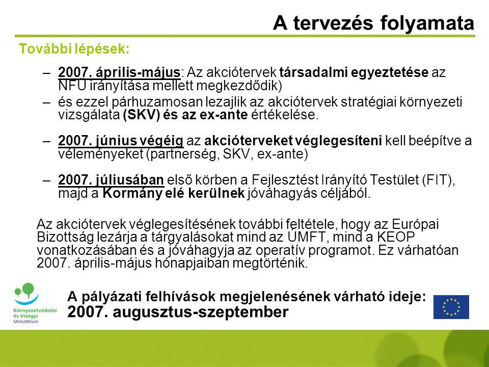 A tervezés folyamata További lépések: –2007. április-május: Az akciótervek társadalmi egyeztetése az NFÜ irányítása mellett megkezdődik) –és ezzel pár