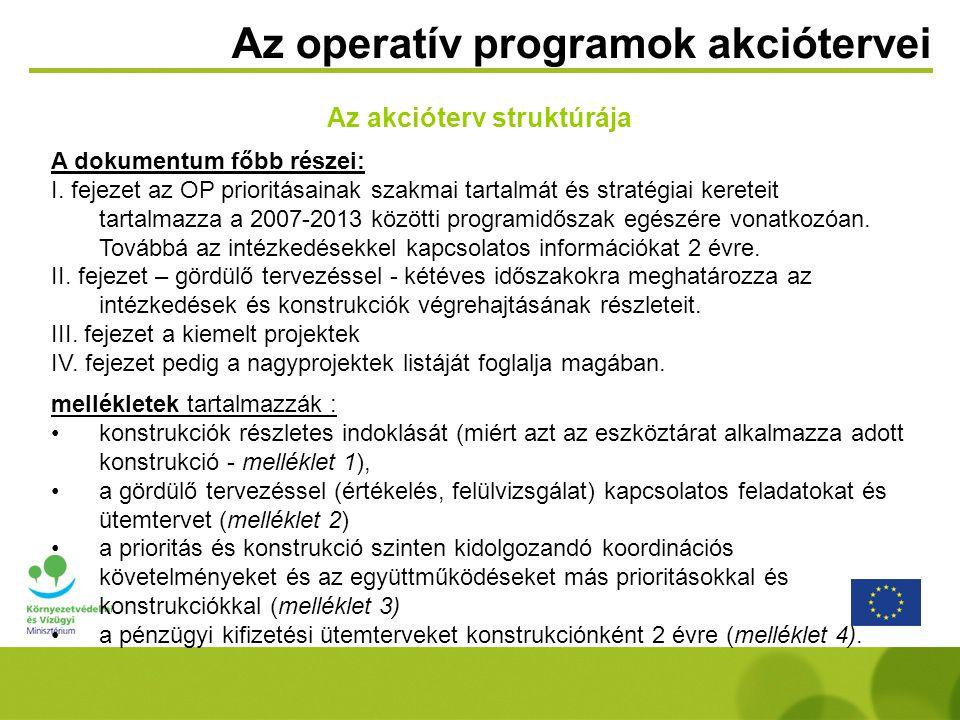 Az operatív programok akciótervei Az akcióterv struktúrája A dokumentum főbb részei: I. fejezet az OP prioritásainak szakmai tartalmát és stratégiai k