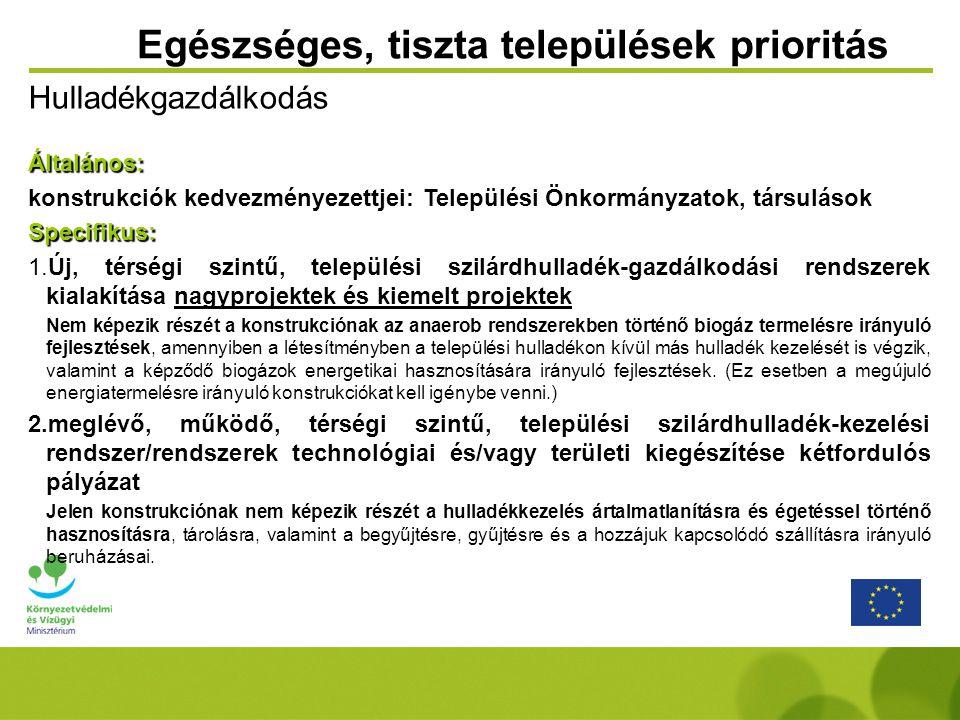 Egészséges, tiszta települések prioritás HulladékgazdálkodásÁltalános: konstrukciók kedvezményezettjei: Települési Önkormányzatok, társulásokSpecifiku