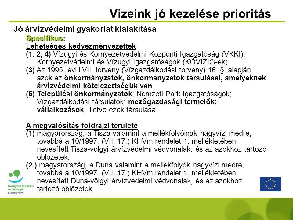 Vizeink jó kezelése prioritás Jó árvízvédelmi gyakorlat kialakítása Specifikus: Lehetséges kedvezményezettek (1, 2, 4) Vízügyi és Környezetvédelmi Köz