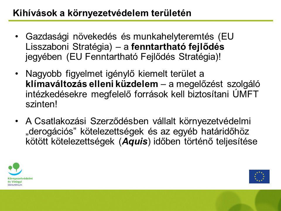 Kihívások a környezetvédelem területén Gazdasági növekedés és munkahelyteremtés (EU Lisszaboni Stratégia) – a fenntartható fejlődés jegyében (EU Fenntartható Fejlődés Stratégia).