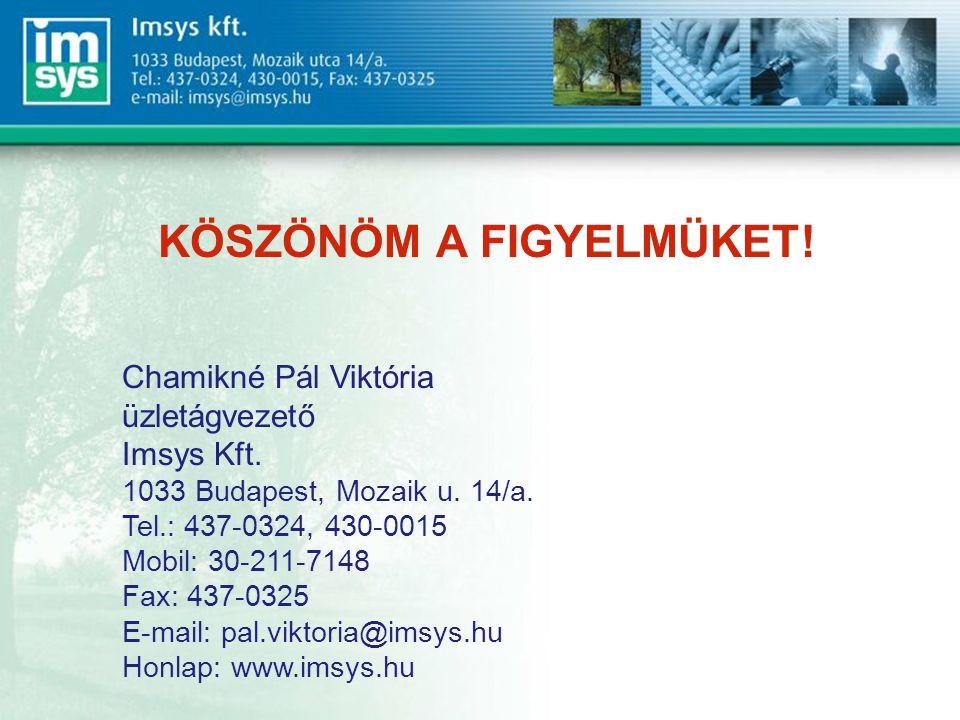 KÖSZÖNÖM A FIGYELMÜKET.Chamikné Pál Viktória üzletágvezető Imsys Kft.