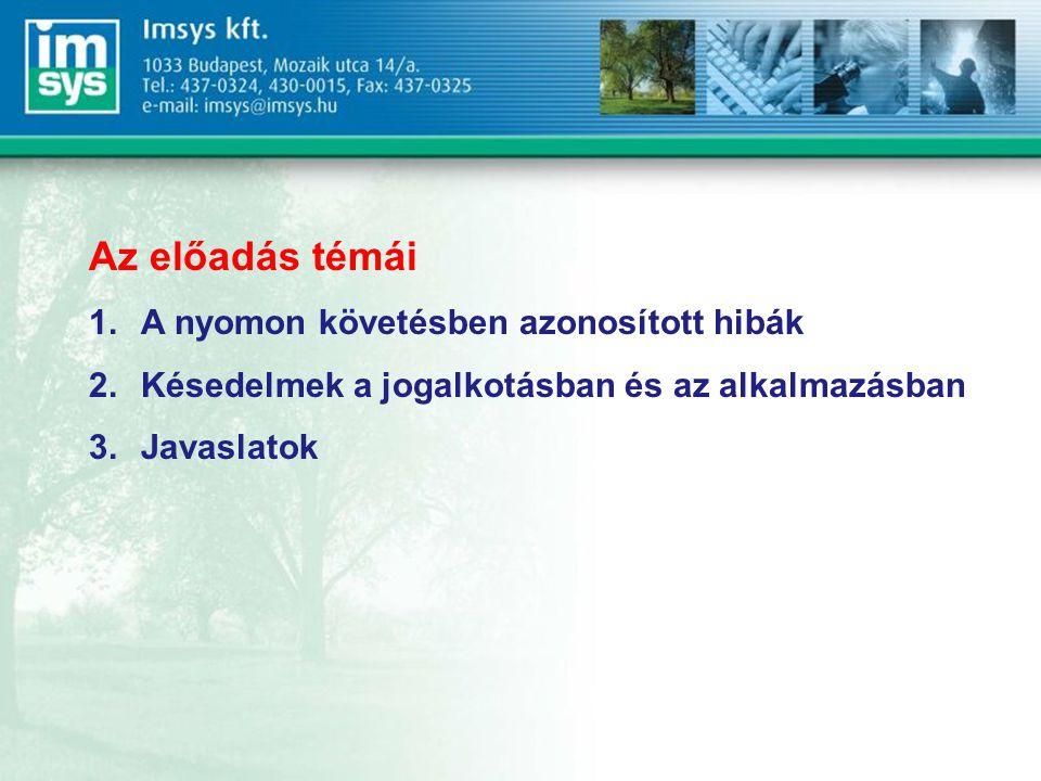 Az előadás témái 1.A nyomon követésben azonosított hibák 2.Késedelmek a jogalkotásban és az alkalmazásban 3.Javaslatok