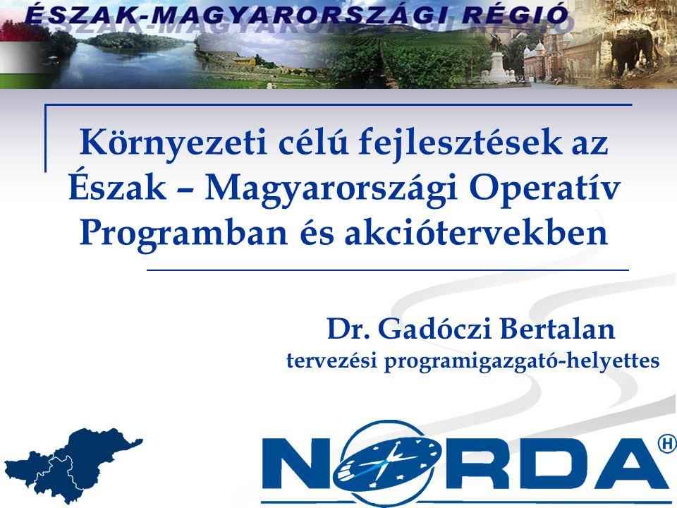 Környezeti célú fejlesztések az Észak – Magyarországi Operatív Programban és akciótervekben Dr.