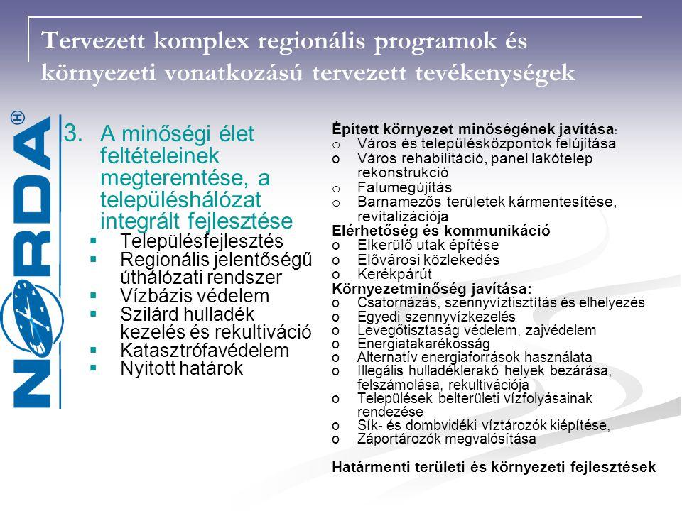 Tervezett komplex regionális programok és környezeti vonatkozású tervezett tevékenységek 3.