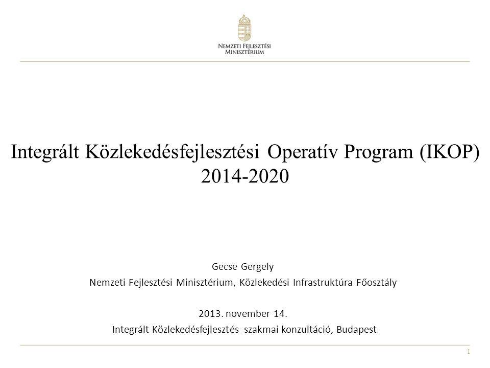 12 2007-2013-as és 2014-2020-as IKOP, CEF, illetve GINOP, TOP, VEKOP közlekedésfejlesztési forrásai: -33% EU forrás + hazai társfinanszírozás 295,1 Ft/€ árfolyamon, a 7%-os teljesítmény-tartalékkal együtt A 2014-2020-as támogatásokat tovább csökkentik a 2007- 2013-as időszakról áthúzódó szakaszolt projektek igényei (~ 150 milliárd Ft) TEN-T közút TEN-T vasút, vízi út TEN-T hálózaton kívüli közút Városi, elővárosi, regionális kötöttpályás közl.fejl.
