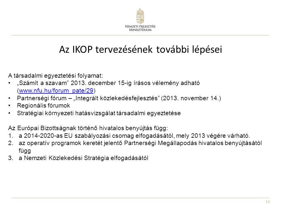"""14 Az IKOP tervezésének további lépései A társadalmi egyeztetési folyamat: """"Számít a szavam"""" 2013. december 15-ig írásos vélemény adható (www.nfu.hu/f"""