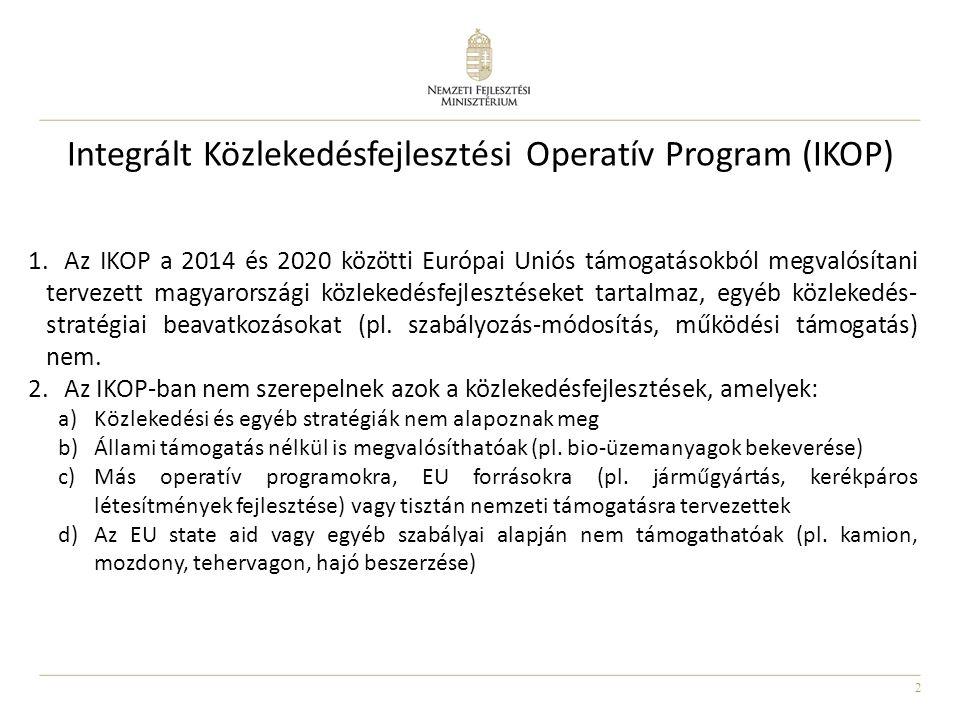 2 Integrált Közlekedésfejlesztési Operatív Program (IKOP) 1.Az IKOP a 2014 és 2020 közötti Európai Uniós támogatásokból megvalósítani tervezett magyar