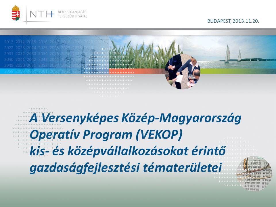 A Versenyképes Közép-Magyarország Operatív Program (VEKOP) kis- és középvállalkozásokat érintő gazdaságfejlesztési tématerületei BUDAPEST, 2013.11.20.