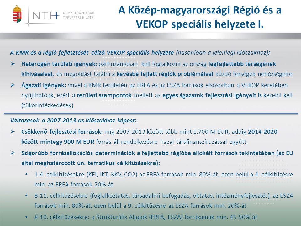 A Közép-magyarországi Régió és a VEKOP speciális helyzete I. A KMR és a régió fejlesztését célzó VEKOP speciális helyzete (hasonlóan a jelenlegi idősz