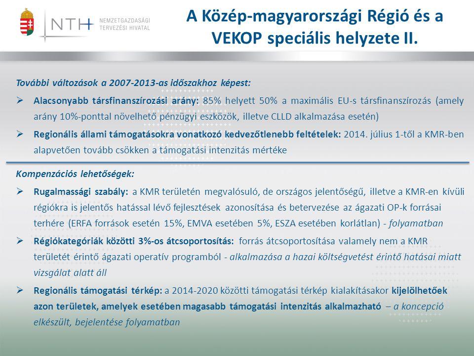 A Közép-magyarországi Régió és a VEKOP speciális helyzete II. További változások a 2007-2013-as időszakhoz képest:  Alacsonyabb társfinanszírozási ar