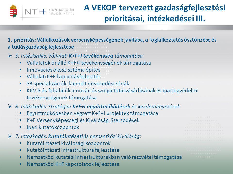 1. prioritás: Vállalkozások versenyképességének javítása, a foglalkoztatás ösztönzése és a tudásgazdaság fejlesztése  5. intézkedés: Vállalati K+F+I