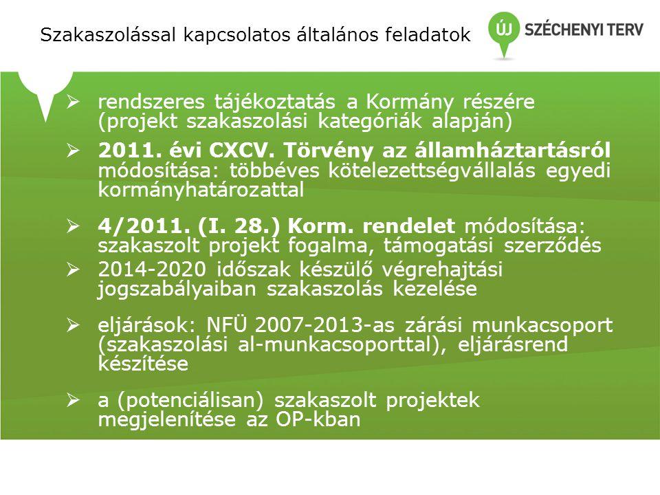 Szakaszolással kapcsolatos általános feladatok  rendszeres tájékoztatás a Kormány részére (projekt szakaszolási kategóriák alapján)  2011. évi CXCV.