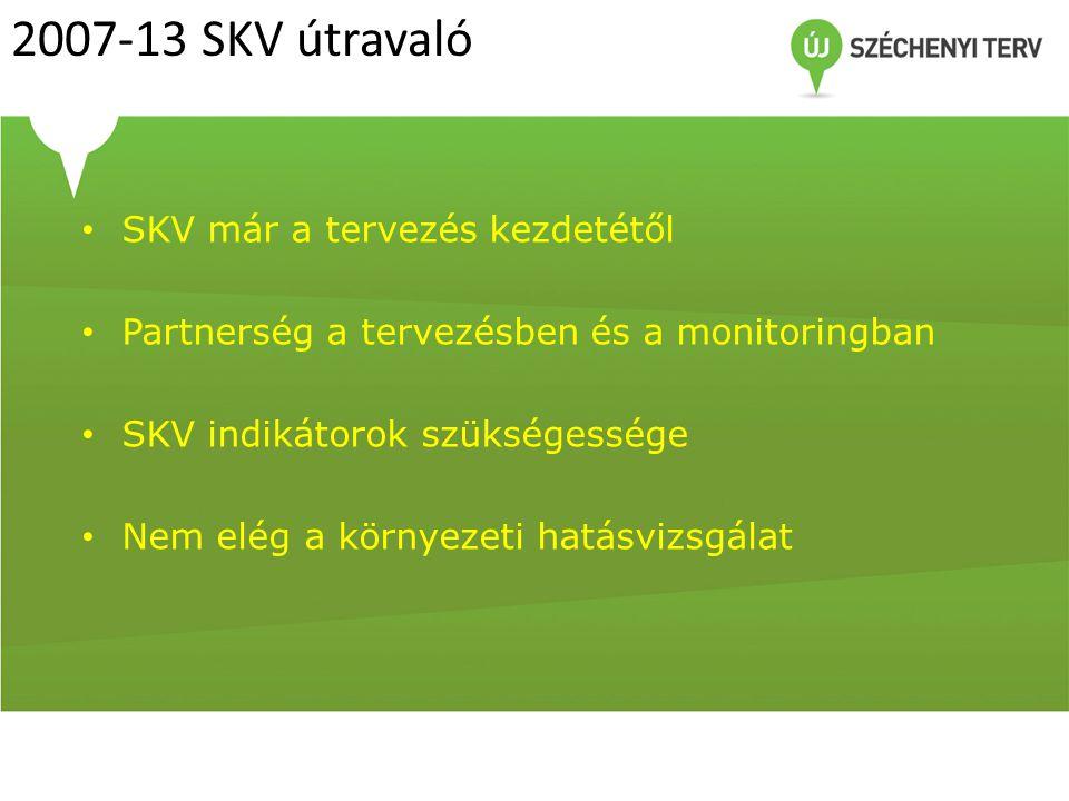 2007-13 SKV útravaló SKV már a tervezés kezdetétől Partnerség a tervezésben és a monitoringban SKV indikátorok szükségessége Nem elég a környezeti hat