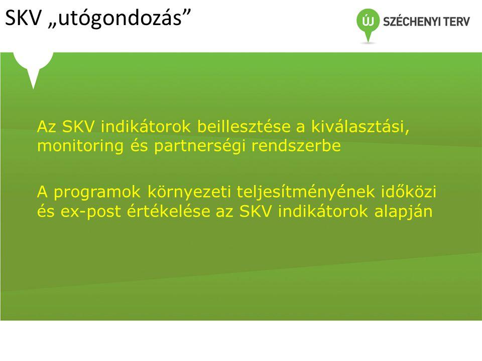 """SKV """"utógondozás"""" Az SKV indikátorok beillesztése a kiválasztási, monitoring és partnerségi rendszerbe A programok környezeti teljesítményének időközi"""