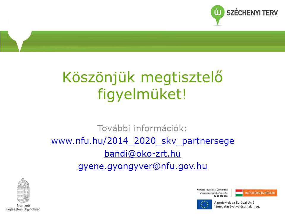 Köszönjük megtisztelő figyelmüket! További információk: www.nfu.hu/2014_2020_skv_partnersege bandi@oko-zrt.hu gyene.gyongyver@nfu.gov.hu